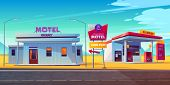 Roadside Motel With Parking, Oil Station And Index Signboard Standing At Wayside In Day Time. Noctid poster