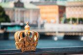 Stockholm, Sweden. Skeppsholmsbron - Skeppsholm Bridge With Its Famous Golden Crown. Popular Place L poster