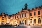 Stockholm, Sweden. Famous Old Swedish Academy And Nobel Museum In Old Square Stortorget In Gamla Sta poster