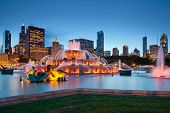 stock photo of illinois  - Image of Buckingham Fountain in Grant Park - JPG