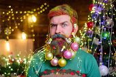 Christmas Beard Decorations. Winter Holidays. New Year Party. Decorated Beard. Bearded Man With Deco poster