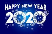 2020 Text Isolated On Blue Background, New Year 2020, 2020 Text For Calendar New Years, Happy New Ye poster