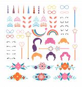 Unicorn Constructor. Stylish Pony Details. Horns, Mane And Eyelashes, Ears And Crowns, Glasses. Flow poster