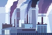 Smog Pollution. Industrial Factory Pipes, Heavy Chemicals Emission. Atmosphere Toxic Contamination,  poster
