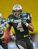 VIENNA, AUSTRIA - JUNE 23 WR Talib Wise (#4 Raiders) runs with the ball on June 23, 2011 in Vienna,