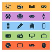 Gadget Icons Set With Fan, Floppy Disk, Phone And Other Fax Elements. Isolated Vector Illustration G poster