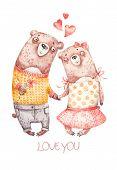 Cute Watercolor Nursery Handpainted Couple Brown Lovers Hugging Bears. Lovely Hand Painted Greeting  poster