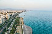 Cyprus. Limassol. Aerial View Of Molos Promenade Or Embankment In Limassol City. Beautiful Mediterra poster