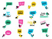 Early Birds Badges. Advertizing Discount Labels Special Business Offers Vector Birds Set. Illustrati poster