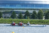 MOSCOW, RUSSIA - JUNE 9: Rowing competitions on double sculls during 51th International Grand Moscow Regatta in Moscow, Russia on June 9, 2012