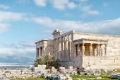 Panoramic View On The Ruins Of Erechtheion Temple. Acropolis Hill In Athens. The Surviving Part Of T poster
