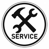 Icon Logo Service Center Repair And Customer Service Vector Sign Service Wrench And Hammer, Repair S poster