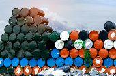 Old Chemical Barrels. Blue, Orange, And Black Oil Drum. Steel Oil Tank. Toxic Waste Warehouse. Hazar poster