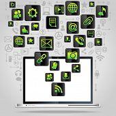 social media, comunicación en las redes informáticas mundiales. Muchos elementos de diseño colorido con