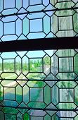 Old Green Medieval Glass Of Window