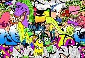 Fondo de arte de pared de graffiti. Patrón de textura perfecta de estilo hip-hop