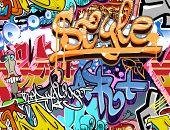 Graffiti wall. Urban art background. Seamless hip hop texture