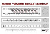 Radio tuner scale dashboard markup vector, 3 styles