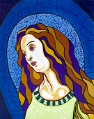 Virgin in the stained-glass window, free portrait interpretation