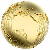 Earth in solid gold (Africa/ Europe) isolated (3d mesh derived from NASA map - http://visibleearth.n