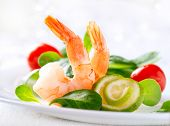 Prawn salad. Healthy Shrimp Salad with mixed greens and tomatoes. Diet. Weight Loss Food. Shrimps