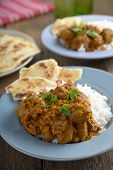 Beef curry with rice and naans