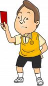 Illustration of an Upset Male Football Referee holding a Red Card