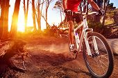 stock photo of exercise bike  - Mountain Bike cyclist riding single track at sunrise healthy lifestyle active athlete doing sport - JPG
