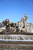 Cibeles Fountain at Cibeles Square in Madrid, Spain. Fountain was designed by Ventura Rodriguez in 1
