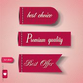 Set of Red Superior Quality and Satisfaction Guarantee Ribbons, Labels, Tags. Retro vintage style