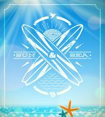 Vector surfing grunge vintage emblem against a summer sunny seascape