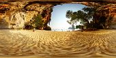 Spherical 360 degrees panorama of a sandy beach among limestone mountains. Phra Nang beach. Krabi, T