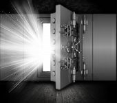 stock photo of vault  - Illustration of a bank vault in a grunge interior with light beams coming out of open door - JPG