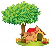 Illustration of a dog playing beside a doghouse under a tree on a white background