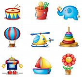 Illustration of the nine different kinds of toys on a white background