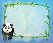 Illustration of a panda standing beside a bamboo frame