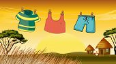 picture of chicken-wire  - Illustration of the clothes hanging in the wire - JPG