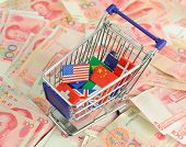 shopping cart with national flag on a lot of Renminbi on white background