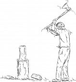 vector - man splitting wood with an axe isolated on background