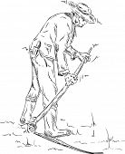 vector - farmer  with a vintage scythe isolated on background