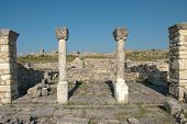 columns of episcopal complex in ancient city of Byllis, Albania