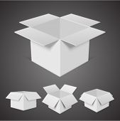 Open boxes vector illustration set