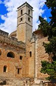 view of Tower of the Hours in Royal Monastery of Santes Creus, in Aiguamurcia, Spain