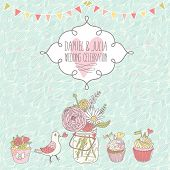 Stylish wedding invitation. Cupcakes, pigeon and bouquet in romantic vector card. Cute vintage background in pastel colors