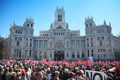 MADRID - MARCH 11: Demonstration of Communist Party near Post Office Building, March 11, 2012 in Mad