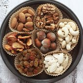 Variety of 7 assorted nuts and dried fruits