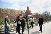 MOSCOW - APRIL 24: Group of journalists scene shot near Kremlin on April 24, 2012 in Moscow, Russia. Kremlin will take control of appointments to senior positions relatives of officials.