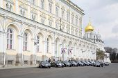 MOSCOW - APRIL 24: Government cars parked near Grand Kremlin Palace on April 24, 2012 in Moscow, Russia. Grand Kremlin Palace - is ceremonial residence of President of Russia