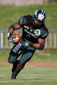VIENNA, AUSTRIA - APRIL 29:  RB Tunde Ogun (#1 Dragons) runs with the ball on April 29, 2012 in Vienna, Austria.