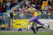 VIENNA, AUSTRIA - MAY 13: WR Laurinho Walch (#81 Vikings) misses the ball on May 13, 2012 in Vienna, Austria.